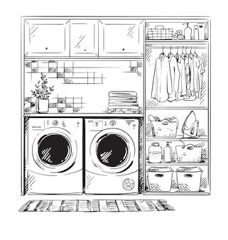 Szkic wnętrza linii, nowoczesna pralnia, czarno-biały rysunek