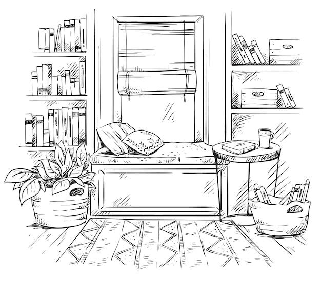 Szkic wnętrza linii, przytulne siedzenie przy oknie z półkami na książki z boku, czarno-biały rysunek