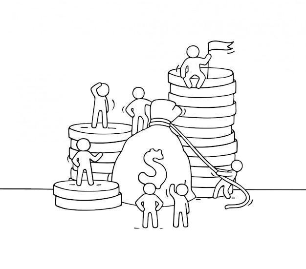 Szkic worek pieniędzy z małymi pracującymi ludźmi