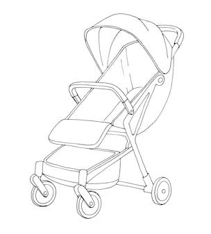 Szkic wózka spacerowego. ilustracja