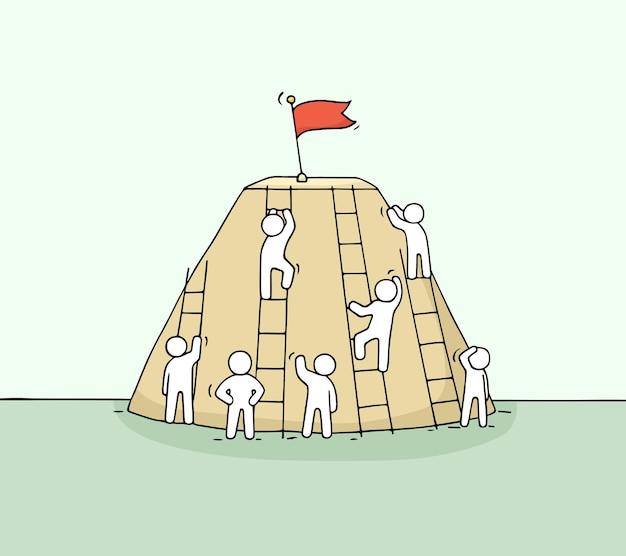 Szkic wspinających się małych ludzi. ręcznie rysowane kreskówki