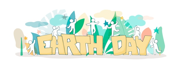 Szkic ze słowami dzień ziemi i baner dla małych ludzi