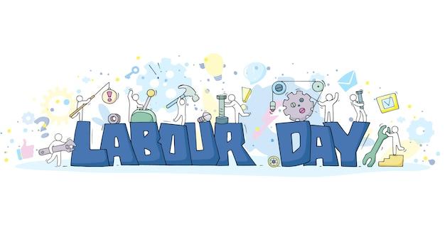 Szkic ze słowami święto pracy i mali ludzie. doodle śliczna miniatura pracowników z narzędziami. ręcznie rysowane kreskówki.