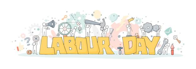 Szkic ze słowami święto pracy i mali ludzie. doodle śliczna miniatura pracowników z narzędziami.