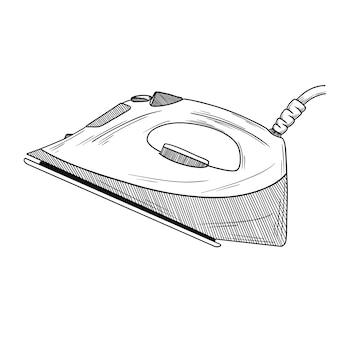 Szkic żelazko na białym tle. ilustracja w stylu szkicu.