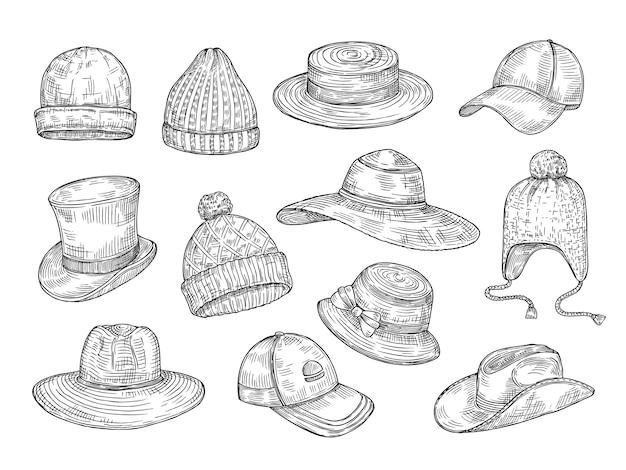 Szkic zestaw czapek