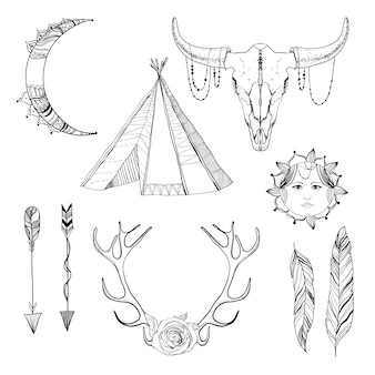 Szkic zestaw elementów boho