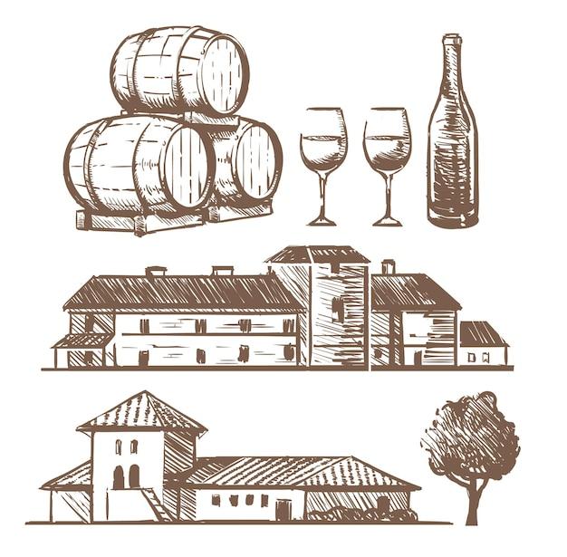 Szkic zestaw elementów winiarni
