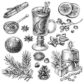 Szkic zestaw grzanego wina i przypraw. ręcznie rysowane wesołych świąt i szczęśliwego nowego roku wakacje ilustracji.