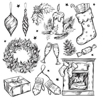 Szkic zestaw ikon prezenty świąteczne