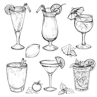 Szkic zestaw koktajli i napojów alkoholowych.