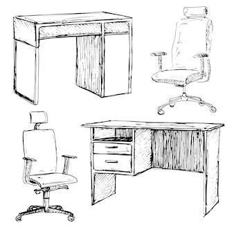 Szkic zestaw mebli na białym tle. różne krzesła i biurka biurowe.