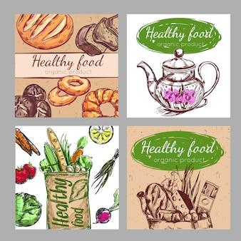 Szkic zestaw plakatów zdrowej żywności