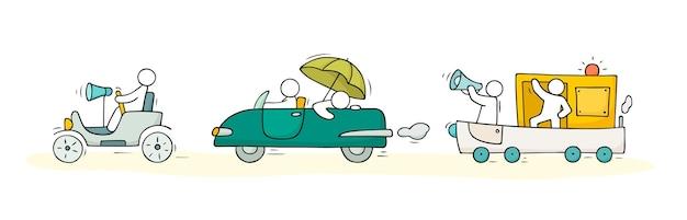 Szkic zestaw z uroczymi samochodami i ludźmi. ręcznie rysowane kreskówki