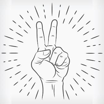 Szkic znak pokoju ręka zarys doodle
