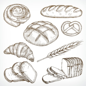 Szkice chleba, rysunek odręczny, zestaw