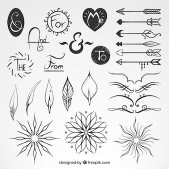 Szkice elementów dekoracyjnych ze strzałkami i hasłami