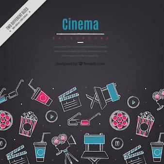 Szkice elementów kina tło