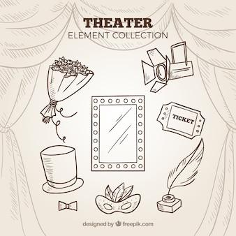 Szkice elementów teatralnych pakować