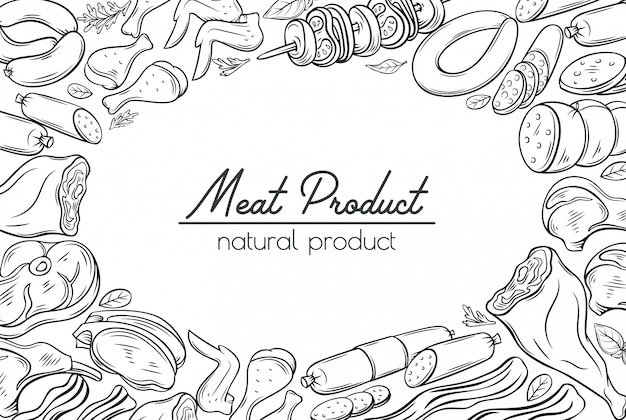 Szkice gastronomicznych produktów mięsnych