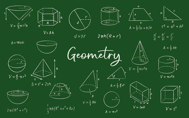 Szkice geometryczne kształty kredą na tablicy