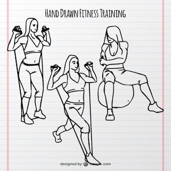 Szkice kobieta szkolenia z elementami sportowymi