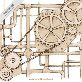 Szkice mechanizmem w stylu steampunk