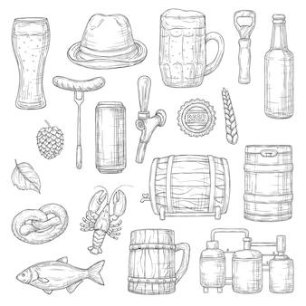 Szkice na białym tle piwa. napój alkoholowy browaru