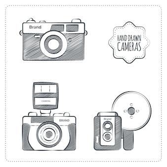 Szkice retro zestaw kamer