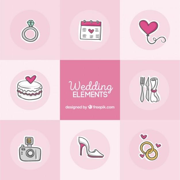 Szkice słodkie elementy weselne