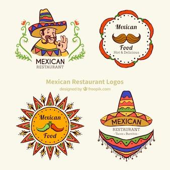 Szkice typowe meksykańskie logotypy żywności