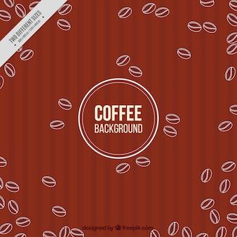 Szkice z ziaren kawy w tle retro