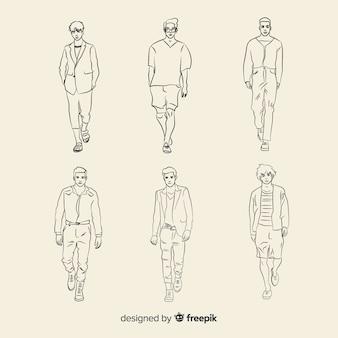 Szkicowa kolekcja modeli mody