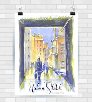 Szkicowanie ilustracji w formacie wektorowym. plakat z pięknym krajobrazem i elementami miejskimi.