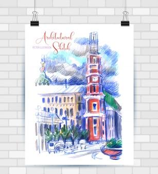 Szkicowanie ilustracji w formacie wektorowym. plakat z pięknymi elementami miejskimi.
