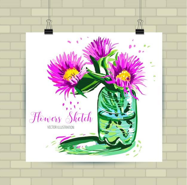 Szkicowanie ilustracji w formacie wektorowym. plakat z pięknymi kwiatami.
