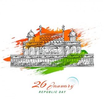 Szkicowanie indian monument red fort z efektem pociągnięcia pędzlem zieleni i szafranu na białym na 26 stycznia, dzień republiki.