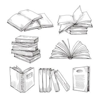 Szkicowniki atrament rysunek starodawny otwarty stos książek i książek. edukacja szkolna i biblioteka doodle symboli wektorowych