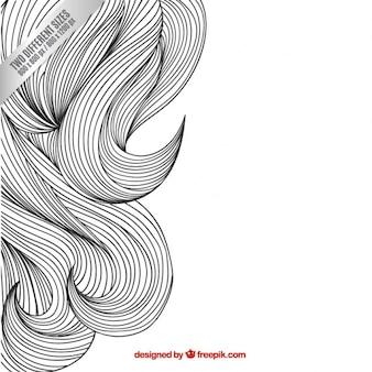 Szkicowy tło faliste włosy