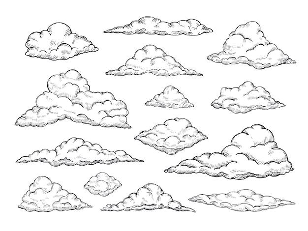 Szkicuj chmury. ręcznie rysowane niebo cloudscape. zarys szkicowania chmura vintage wektor zbiory