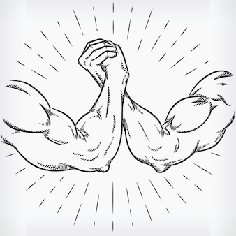 Szkicuj doodle strong armwrestling fighting