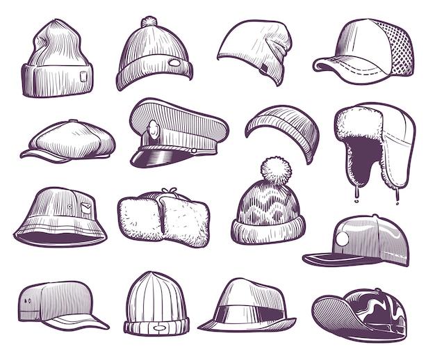 Szkicuj kapelusze. modne czapki męskie. sportowa i dzianinowa, bejsbolówka i czapka typu trucker, sezonowe nakrycia głowy rysujące ciepłe futrzane nauszniki