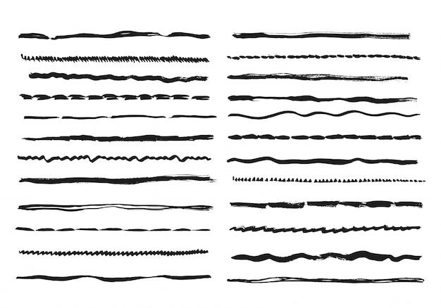 Szkicuj linie. ołówek teksturowany doodle odręczne pociągnięcia linii kreda bazgroły czarny zestaw linii atramentu
