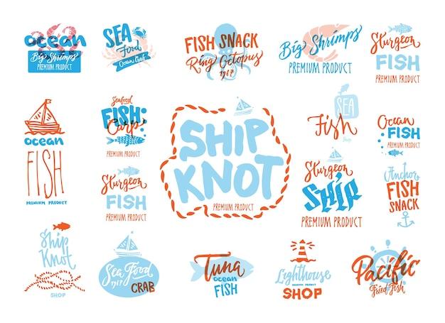 Szkicuj logotypy premium z owoców morza z odręcznymi napisami różnych zwierząt morskich