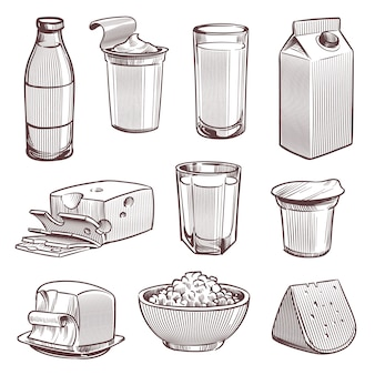 Szkicuj mleko. świeże produkty mleczarskie, butelka mleka i ser. pakiet jogurtu, dieta masła naturalna żywność vintage ręcznie rysowane tradycyjny zestaw pokruszonych składników