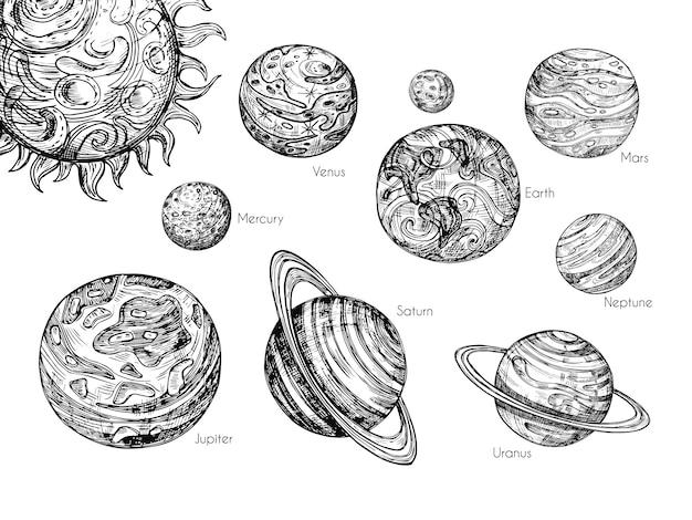 Szkicuj planety układu słonecznego. rtęć, wenus, ziemia, mars, jowisz, saturn, uran i neptun w ręcznie rysowane grawerowanie styl wektor zestaw