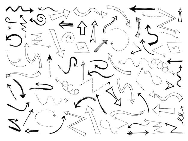 Szkicuj strzałki. doodle czarne symbole linii kierunku strzałki.