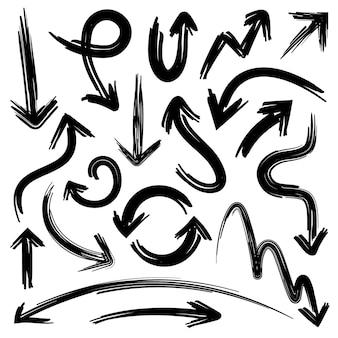 Szkicuj strzałki. doodle elementy strzałek z teksturą grunge ołówek bazgroły na białym tle ręcznie rysowane wektor zestaw