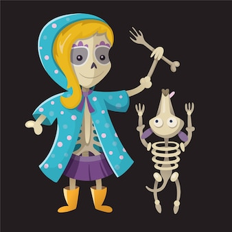 Szkielet dziewczyny z kolorową czaszką bawi się szkieletowym psem z kością ręki halloween wektor