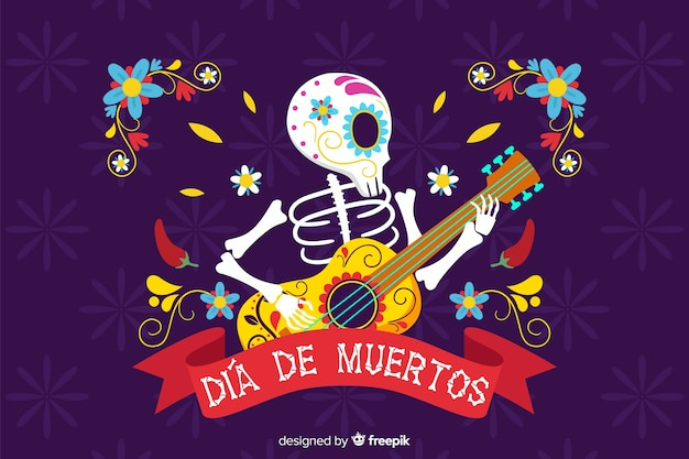 Szkielet gra na gitarze płaskim tle dia de muertos